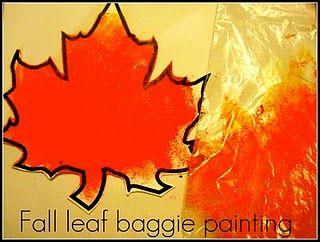 Painting leaves in a baggie