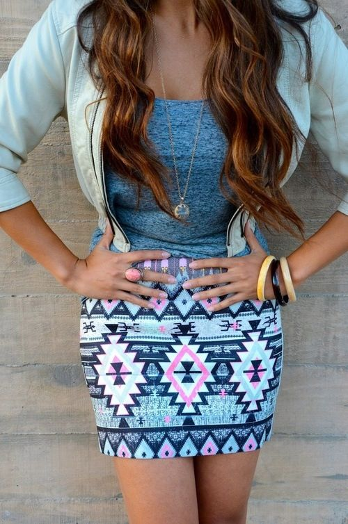 a cute tribal print pencil skirt is always good for your closet