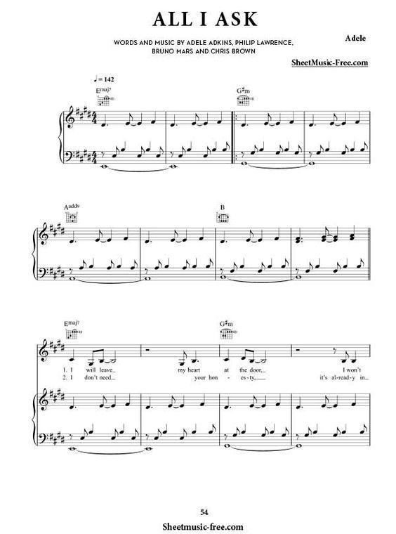 All I Ask Sheet Music Adele Sheet Music Sheet Music Notes