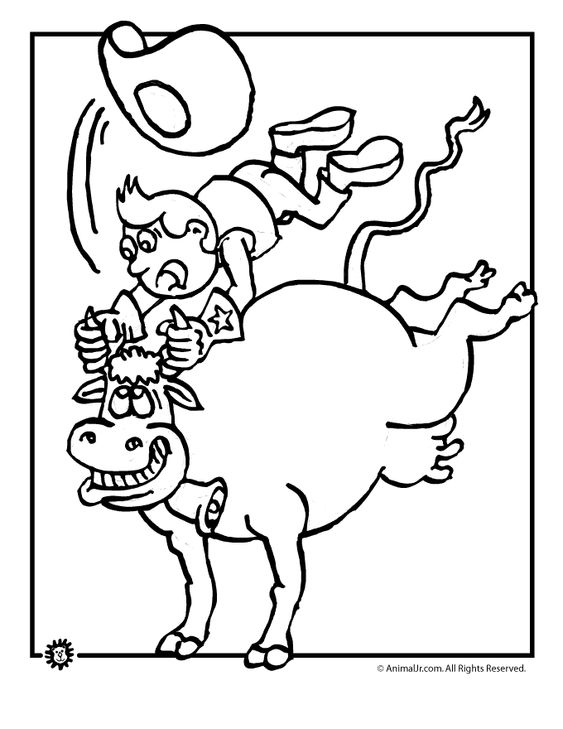 Rodeo bull rider coloring page for coloring pages for Bucking bull coloring pages