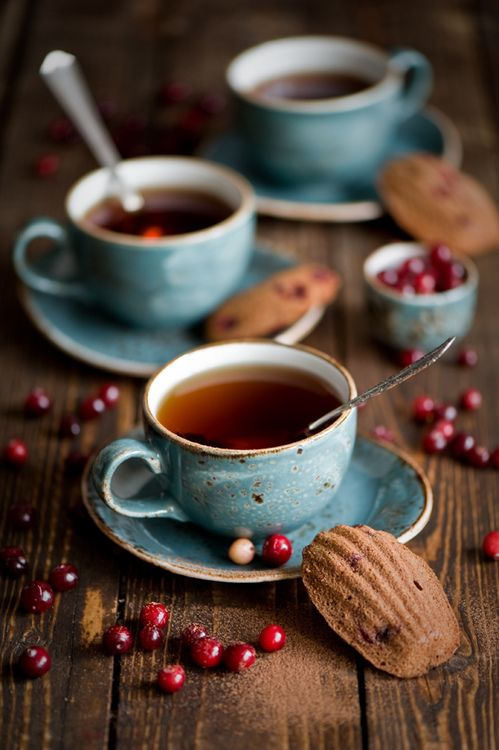 Autumn ~ a steamy cup of hot tea or coffee with friends on a chilly Fall afternoon…. blue, brown, red