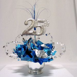 25th cut out used in a 25th anniversary table decoration for 25th birthday party decoration ideas