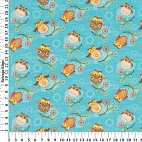 """Tossed Owls on Turquoise Cotton Fabric  Item#3491909  Content: 100% Cotton  Width: 45""""  Care Method: Dry Clean Only  Bolt Size Average: 8 Yards  PAKISTAN  Availability:  Out of Stock  Quantity:   YD  Sale Price:$5.99 per YD"""