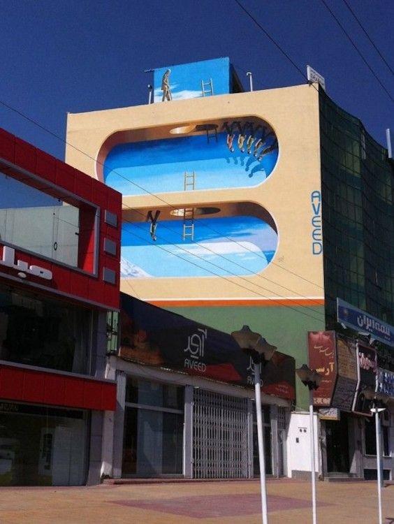 Surreal murals in Tehran