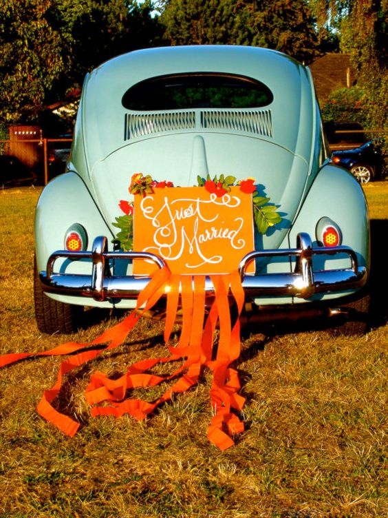 Herbybug - JUST MARRIED sign  Calligraphy car sign  by LauraLavenderArt, $45.00