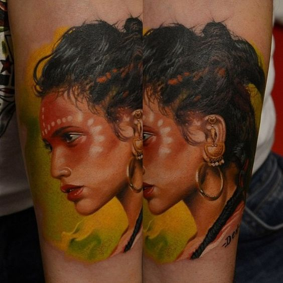Colour Portrait Tattoo by Den Yakovlev