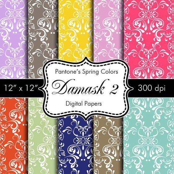 Pantones Spring Colors Damask 2 Digital Papers for by HeadsUpGirls,