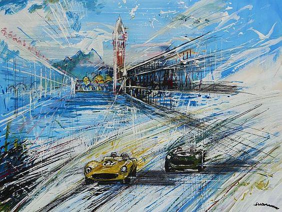 Description: Francesco SCIANNA  Ferrari T.R.E. Aston Martin DB35, Mille Miglia 1986  Technique mixte  Signée en bas à droite, signée, titrée et datée 1985/1986 au dos  Encadrée. 58 x 77 cm. (22 3/4 x 30 1/4 in.)