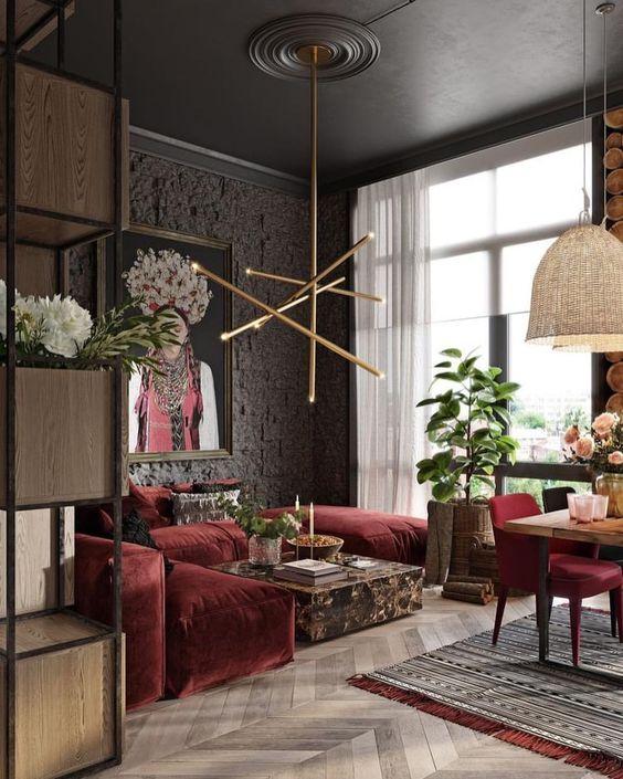 tendance décoration intérieur canapé bordeaux- canapé velours