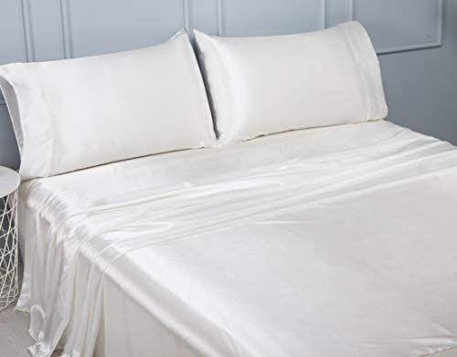 Lanest Housing Silk Satin Sheets 4 Piece Queen Size Silk Bed