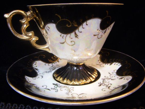 Lucious Lusterware BLACK TEACUP and SAUCER Gold by DecadesAntiques