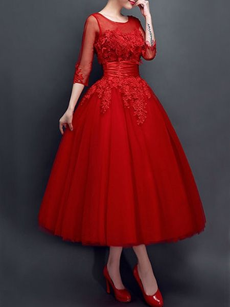 Embroidery Mesh Round Neck Party Dress