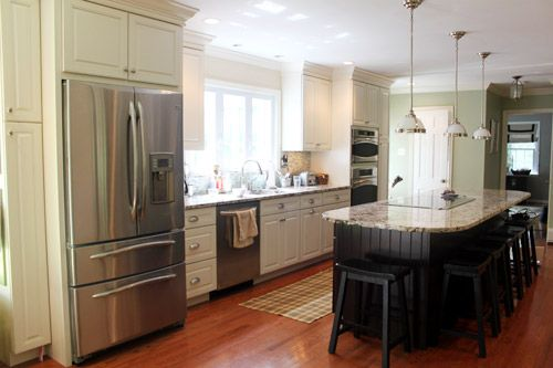 I love that thick molding above the cabinets. Just say no to soffits and empty space! (via @Sherry @ Young House Love): Kitchen Makeover, Home Depot Kitchen, Kitchen Design, Colored Island, Dream Kitchens