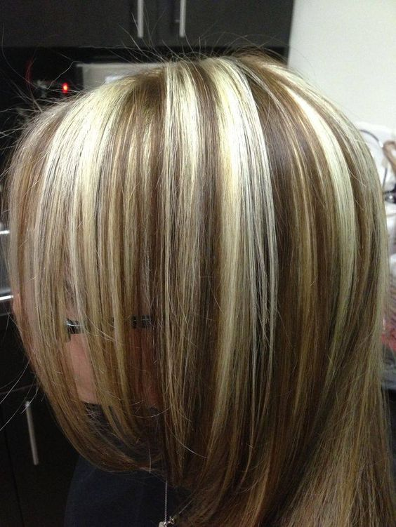 chunky highlights and lowlights | Bleach Blonde Hair with Brown Lowlights