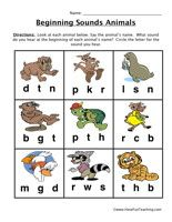 beginning sounds worksheet animals kindergarten ela pinterest phonics worksheets. Black Bedroom Furniture Sets. Home Design Ideas