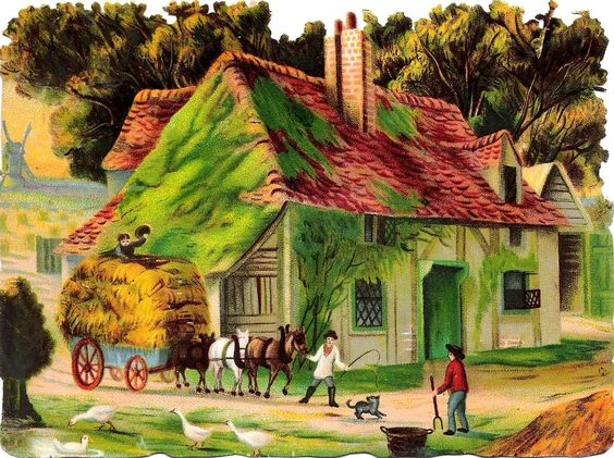 Oblaten Glanzbild scrap die cut chromo Haus  15,5cm house Farm Hof Pferd Heu:
