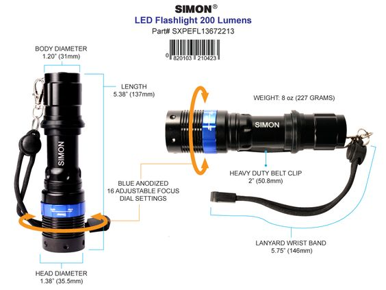 It's Only a little over 5 inches tall but it packs a big punch. The Simon Cree flashlight is the best led flashlight for professionals and  consumers for everyday use. Get Yours Today!  http://www.simonflashlights.net/product/cree-led-flashlight-xpe-200/ Just $25.00
