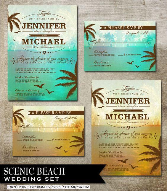 Beach Wedding Invitation Suite Destination Wedding Invitation Tropical Wedding Invitation DIY