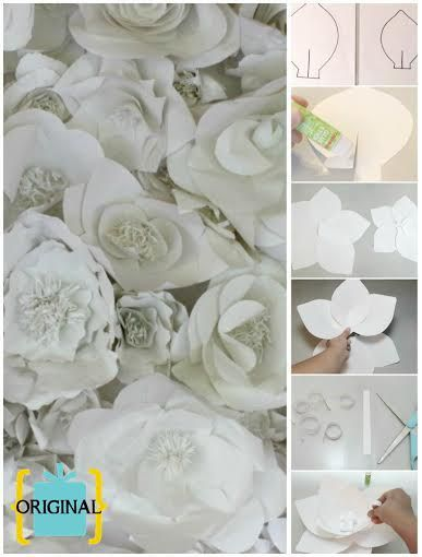 3D paper flower for wedding backdrop or photo booth. Inspired by Chanel Spring 2009.