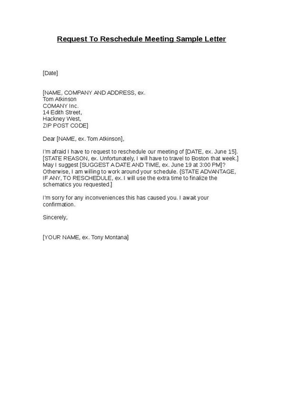 Request Reschedule Meeting Sample Letter Hashdoc Best Formal