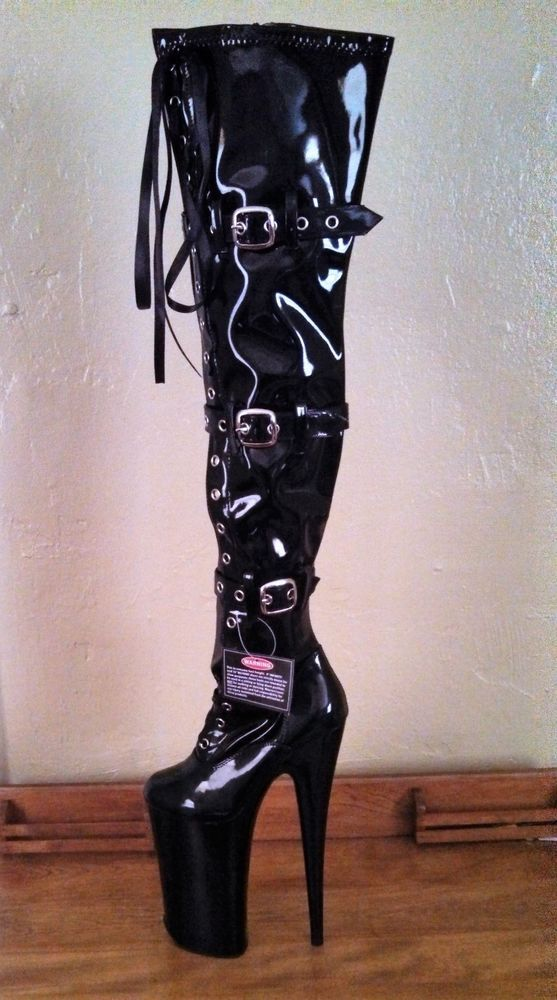 Black Patent Feature Heeled Thigh High
