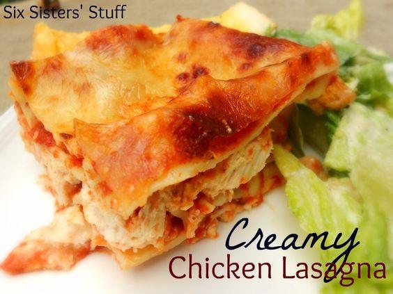 Creamy Chicken Lasagna- this is my family's favorite lasagna! SixSistersStuff.com #lasagna #recipe #dinner