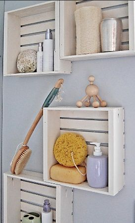 "Wooden crates added to the wall as a DIY bathroom shelf...great for a beach/seaside theme...Click on the image for more information on ""DIY Bathroom Storage"" by Kitchen Bath Trends"
