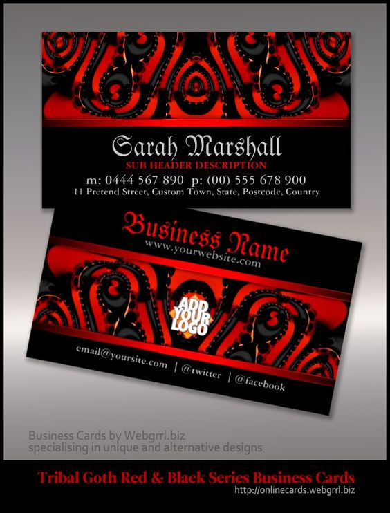 Red+Black Tribal Gothic customizable Business Cards