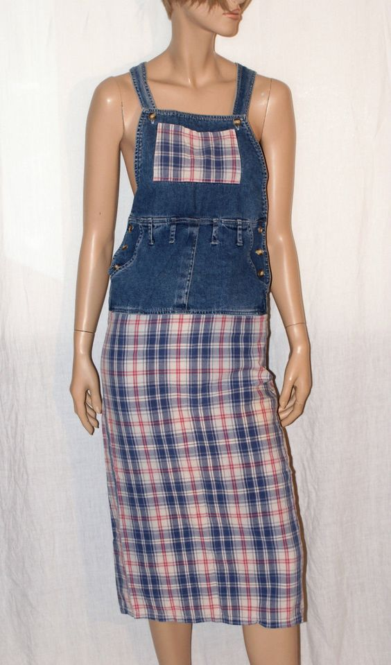 Original Denim Woman Dungarees Dress Plaid Pattern Size 40 Brand YES Abito…