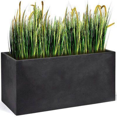 jardini re rectangulaire en fibre de terre anthracite pot de fleurs. Black Bedroom Furniture Sets. Home Design Ideas