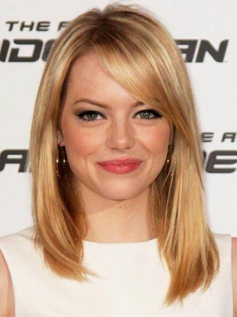 Medium Length Hairstyles With Side Bangs Medium Hair Styles Medium Length Hair Styles Emma Stone Hair