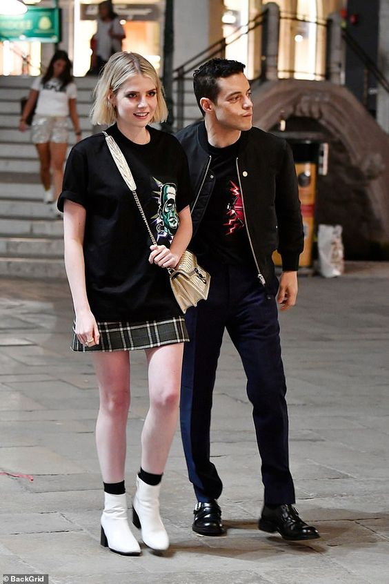 Lucy Boynton and Rami Malek look loved-up as they stroll around Venice during Film Festival | Daily Mail Online