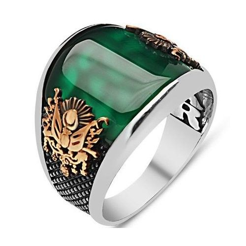Emerald gold silver ring US 6,5 UK M square elegant green stone silver ring