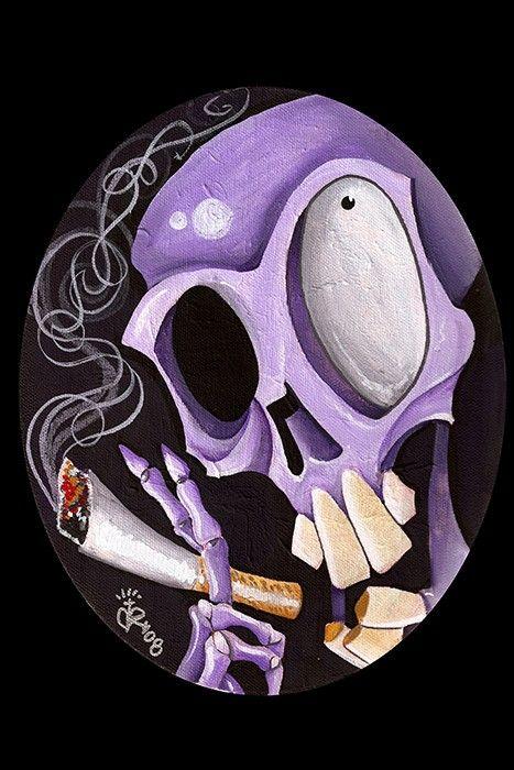Smoking Skull Art Print by Black Market
