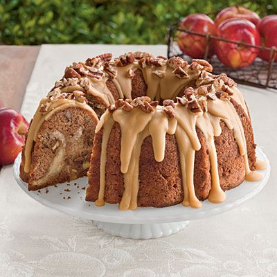 Apple-Cream Cheese Bundt Cake   With a cream cheese filling and sweet praline frosting, this apple bundt cake is a must-try! Garnish with toasted pecans for a pretty finish and a little crunch.   SouthernLiving.com: Bundt Cakes, Cheese Cake, Cream Cheese, Recipes Cakes, Pound Cake
