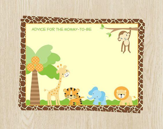 Bénédictions bébé cartes, Lion, tigre, éléphant, singe et girafe, ensemble de maman 24 conseils, livraison gratuite, JGSBL, Jungle Safari Conseils carte