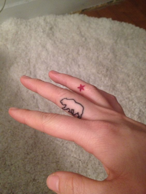 The newest one. My simplified California finger tattoo across two fingers. OG