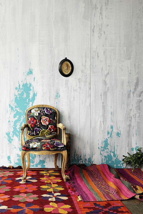 Repin Via: Bonnie Tsang: Chair Flora, Bohemian Spaces, Antique Chairs, Color, Grafton Chair, Wall Textures, Floral Chair, Chair Rug
