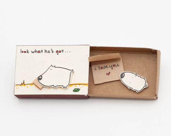 Niedlichen Welpen Karte - Hochzeitstag - Liebeskarte  Dieses Angebot gilt für eine Streichholzschachtel. Dies ist eine großartige Alternative zu einem