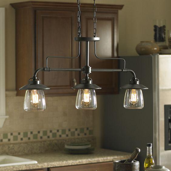 Kitchen Island Lights Dublin: Shop Allen + Roth Bristow 36-in W 3-Light Mission Bronze