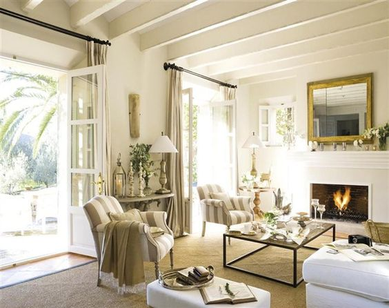 tall french doors from living room to front porch