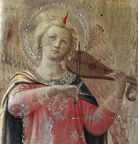 """BEATO ANGELICO - Angelo musicante , dettaglio """"Tabernacolo dei Linaioli"""" - 1432-1433 - Museo nazionale di San Marco di Firenze:"""