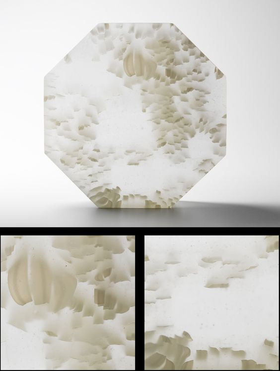 """REVOLVE - WHITE"" Janice Vitkovsky Kiln formed and carved murrini glass 9 1/2"" x 9 1/2"" x 2 1/2"":"