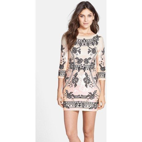 @ Women's Needle & Thread Floral Embroidered Sequin Body-Con Dress, Size 6 - Black $570.00