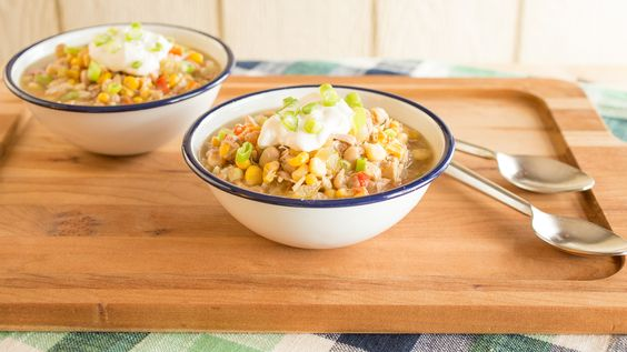 Slow cooker white chicken chili couldn't be simpler - and it makes enough for the whole fam!