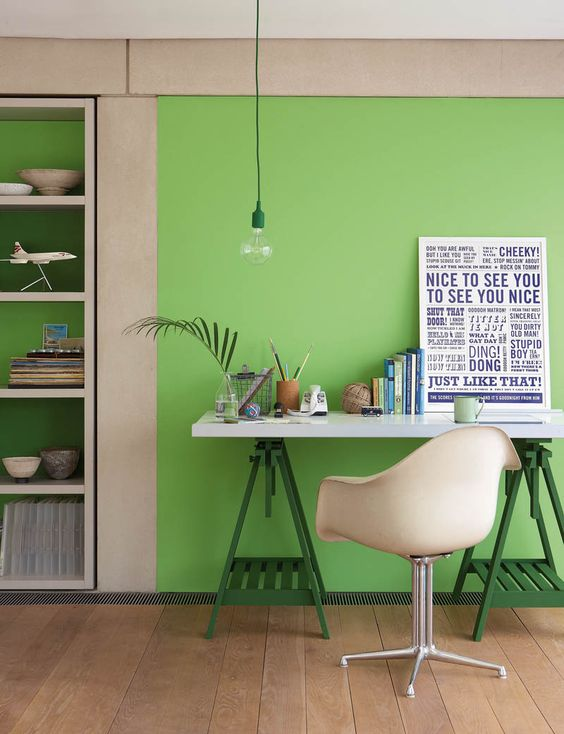 A gorgeous green home office we're lusting after