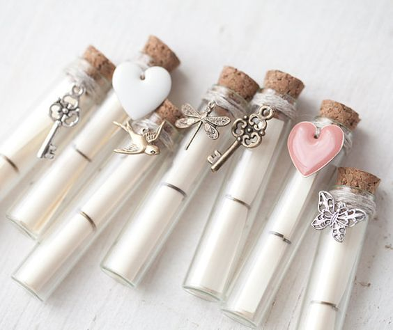 Secret Message in a Bottle - Winter Wedding Secret message card - Valentines day gift - Choose your style