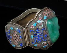 MASSIVE DECO Chinese SILVER BRACELET Enamels and CHRYSOPRASE Stone VINTAGE