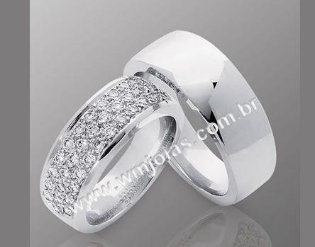 Alianca de casamento  Aliança em ouro branco 18k 750  http://www.wmjoias.com.br/