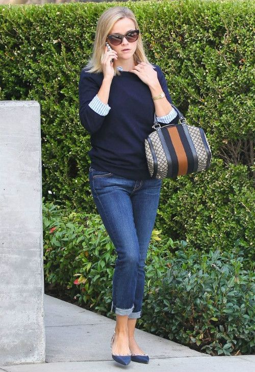 Reese Witherspoon wearing GUCCI Boston diamond-print ...